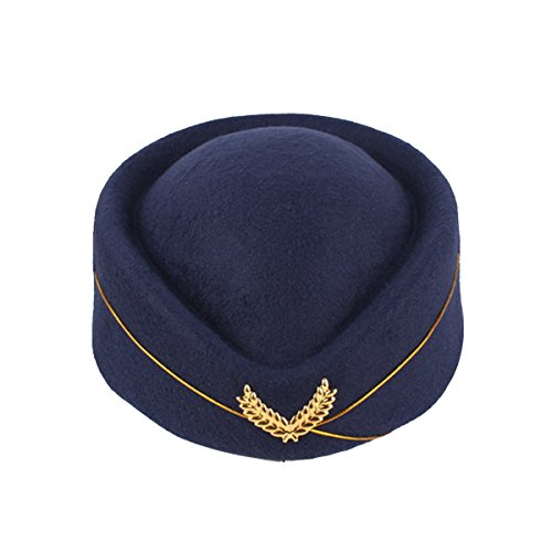 BESTOYARD Stewardess Hat Wool Cap Flight Attendant Hat Stewardess Cap for Costume Cosplay Costume Accessories (Navy Blue]()