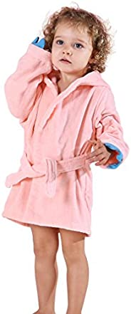 MICHLEY Girls Boys Robe Cotton Towel Animal Dinosaur Hooded Bathrobe