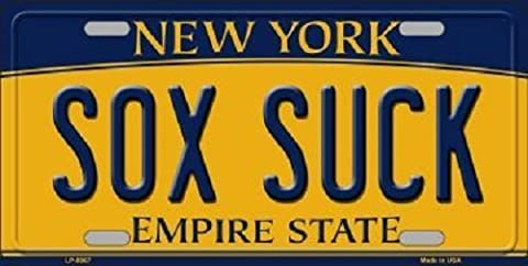 Sox Suck New York Background Novelty Metal Novelty License Plate - Sox Metal