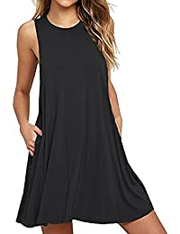 Women Summer Casual T Shirt Dresses Beach Cover up Plain Pleated Tank Dress 7766eafe3