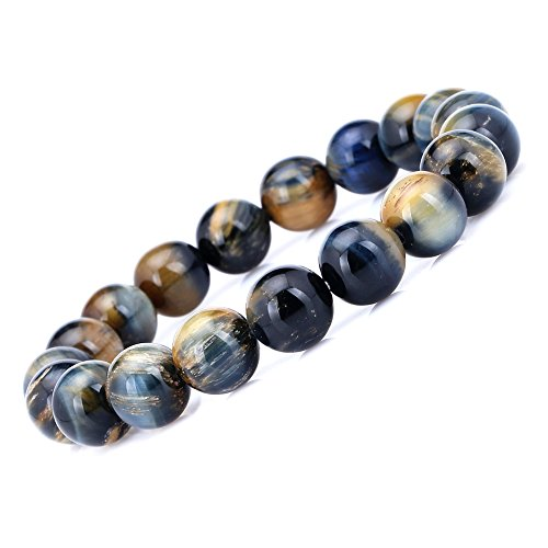 AAA 10mm Tiger Eye Stone Bracelet Handmade Stretch Strand Bracelets (Eye Bracelet Stone Tiger)