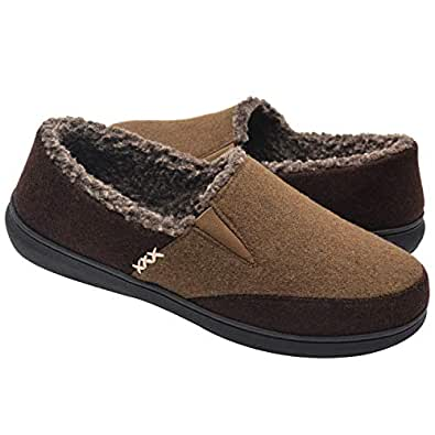 Zigzagger Men's Closed-Back Wool-Like Blend Elastic Inserts Moccasin Slippers Indoor-Outdoor House Shoes Camel