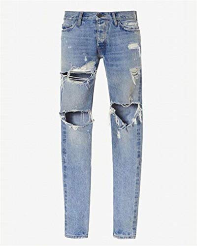 Uomo Holes Pants Basic Hellblau Skinny Vintage Ripped Adelina Pantaloni Jeans Denim Abbigliamento Chern Fashion Da Casual YwqHxWCWTE
