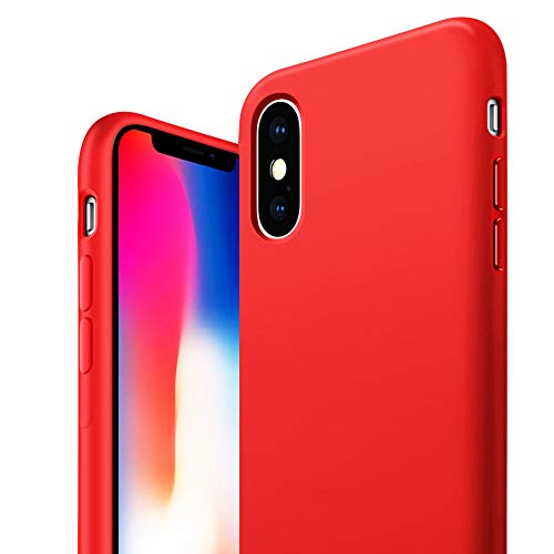 Heromiracle IP XS Max Case Liquid Silicone Compatible with iPhone XSMax 10xs Max 10max Xmax Cover Slim Bumper Luxury Fundas Xphone Thin Skin Coque I Phone 6.5 inch (Red) (Coque Iphone)