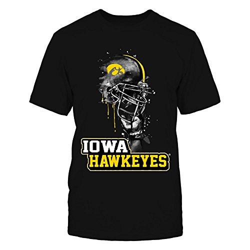 FanPrint Iowa Hawkeyes T-Shirt - Rising Helmet - Team Name - Men