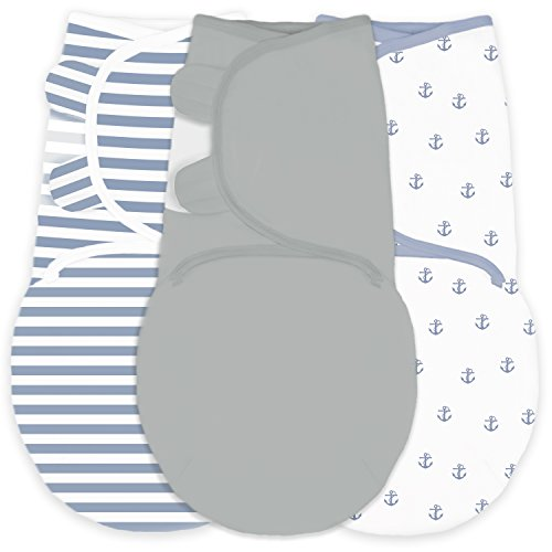 Amazing Baby Swaddle Blanket with Adjustable Wrap, Set of 3, Tiny Anchors, Stripes and Solid, Denim and Gray, Small - Denim Baby Bedding