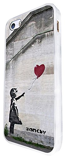 545 - Banksy Balloon Girl Graffiti Art Design iphone SE - 2016 Coque Fashion Trend Case Coque Protection Cover plastique et métal - Blanc
