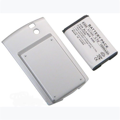 BlackBerry 8300 Curve Series 1800mAh Extended Battery with Silver Battery Door