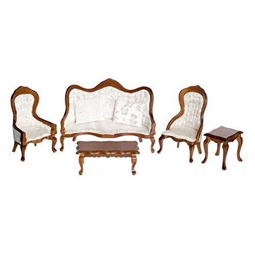 Dollhouse Miniature Victorian White Living Room Furniture Set Walnut (English Victorian Walnut)
