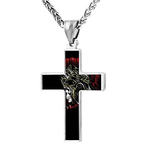 Price comparison product image Kenlove87 Patriotic Cross Centurion Skull Religious Lord'S Zinc Jewelry Pendant Necklace