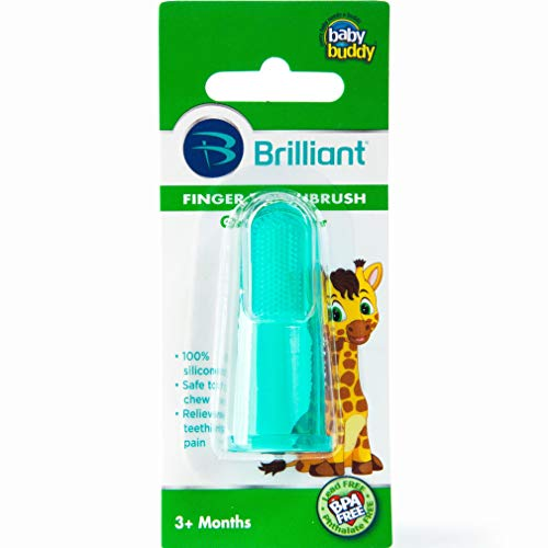 - Brilliant Baby Finger Toothbrush - Silicone Gum Massager and Teether Brush for Babies and Toddlers - Kids Love Them, Green, 1 Count