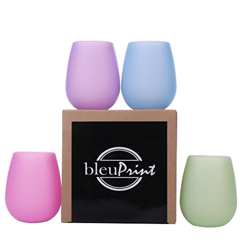 Silicone Wine Glasses - Unbreakable, Outdoor Silicone Wine Cups - Stemless Wine Glasses: Set of 4, Rubber - Unbreakable, Shatterproof glasses for Camping, Travel, Beach, Pool Party