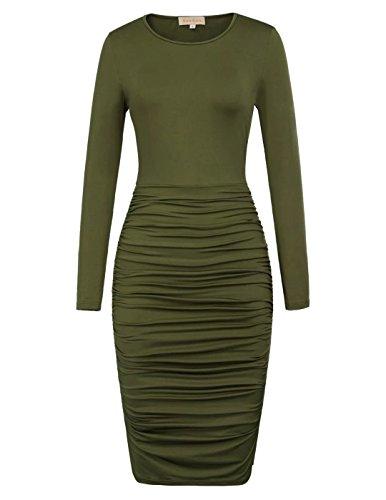 Belle Femme Poque Manches Longues Strectchy Plissée Moulante Robe De Soirée Crayon Vert Olive Foncé