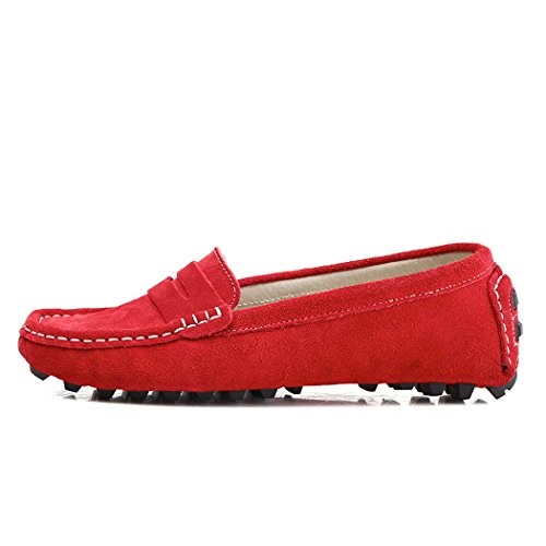SUNROLAN Casual Womens Suede Leather Driving Moccasins Slip-On Penny Loafers Boat Shoes Flats Red ggxezJIv