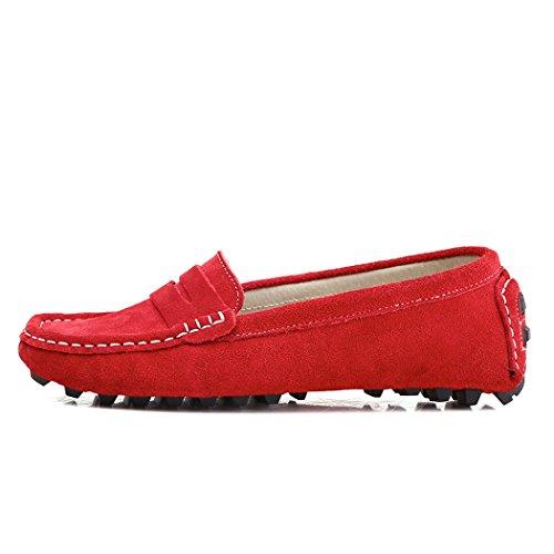 SUNROLAN Casual Damen Wildleder Driving Mokassins Slip-On Penny Loafers Bootsschuhe Wohnungen rot