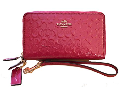 Coach Double Zip Phone Wallet Debossed Patent Leather Wristlet by Coach