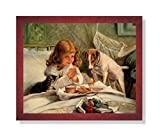 Little Girl Praying in Bed Breakfast Dog and Cat Religious Picture Framed Art Print