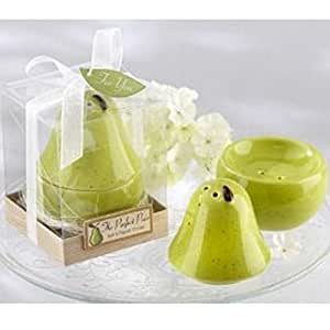 The Perfect Pair Pear Ceramic Salt & Pepper Shakers Wedding Party Favor Gift , Set of 22