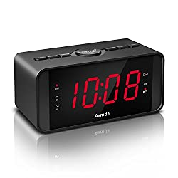Axmda Digital Alarm Clock with FM Radio, Dual Alarm with Snooze, 4.5 LED Screen with Large 1.2 Display, 3 Brightness Level,FM Radio 0-16 level Volume, Backup Battery(Battery is not included)