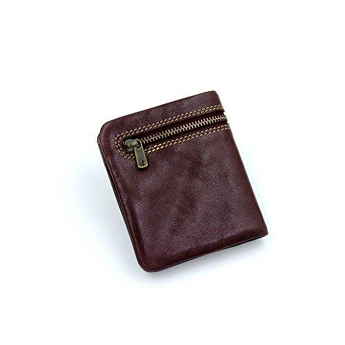 pelle Brown leggera e sottile pochette con Color portamonete in pieghevole in sottile rabbit carta Borsa in Coffee vera sottile pelle unisex Lovely Borsa xfXH1n