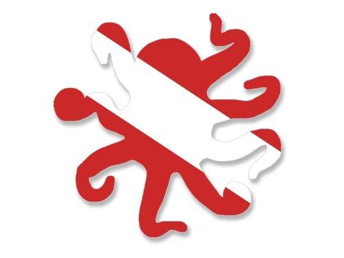 Octopus Shaped Scuba Dive Flag Sticker (diving diver decal)