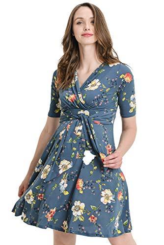 Hello MIZ Flower Print V-Neck 3/4 Sleeve Baby Shower Front Tie Wrap Maternity Dress (Dark Denim Flower, M)