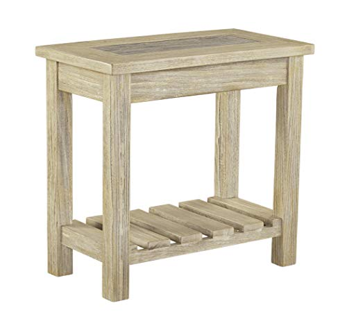 (Ashley Furniture Signature Design - Veldar Casual Chair Side End Table with Planked Shelf -)