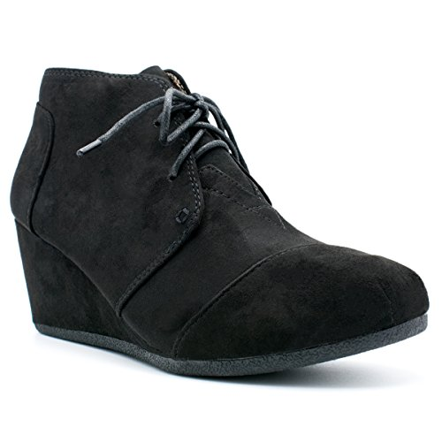 Premier Standard Fashion Casual Outdoor Low Wedge Heel Booties Shoes, TPS Patricia-01 Black Size 9