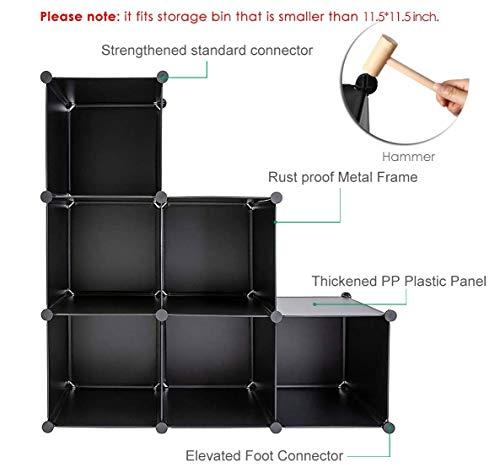 GuanJun Storage Organizer 6 Cubes,Modular Shelves, DIY Plastic Closet Cabinet,Storage Shelves for Bedroom, Living Room, Office, Black with Rubber Hammer (Black, 6 Cube)