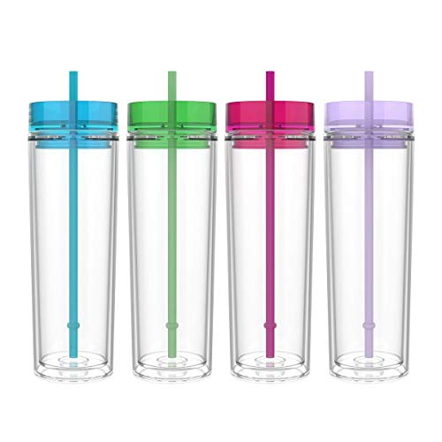 Maars Classic Insulated Skinny Tumblers 16 oz. | Double Wall Acrylic | 4 pack -