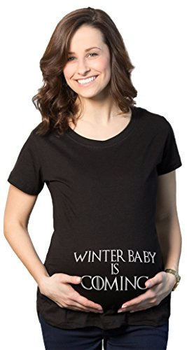 Maternity Winter Baby is Coming T Shirt Geeky Novelty Pregnancy Tee (Black) - S -