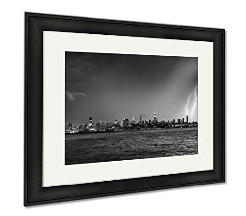 Ashley Framed Prints Lightning Hitting A New York City Skyscraper At Twilight Stormy Skies Over, Modern Room Accent Piece, Black/White, 34x40 (frame size), Black Frame, - Manhattan And Nyc Shade Glass