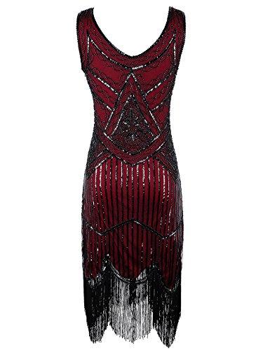 Flapper Girl Women's Vintage 1920s Sequin Beaded Tassels Hem Flapper Dress (XXL, Burgundy)