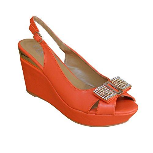 Neue Damen Damen Gold Diamante Schnalle Sling Schwarz Mid Heel Wedge Sommer Sandale Orange