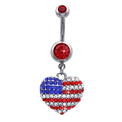 Stripe Belly Navel Ring - cocojewelry 4th of July American Flag Heart Star Charm Navel Belly Ring (Pave Heart Red)