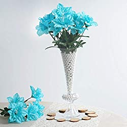 BalsaCircle 72 Turquoise Silk Daffodil Flowers - 12 Bushes - Artificial Flowers Wedding Party Centerpieces Arrangements Bouquets