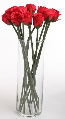 Bouquet-of-36-Artificial-Red-Windsor-Silk-Rosebud-Stem-Flowers-14-Tall