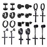 Szory 10 Pairs Stud Hoop Cross Earrings for Men Women Stainless Steel Cubic Zirconia Black