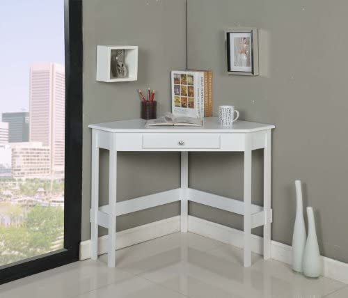 Kings Brand Furniture Wood Corner Desk with Drawer White