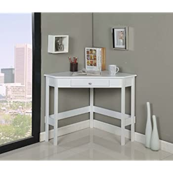 Kings Brand Furniture Wood Corner Desk With Drawer (White)