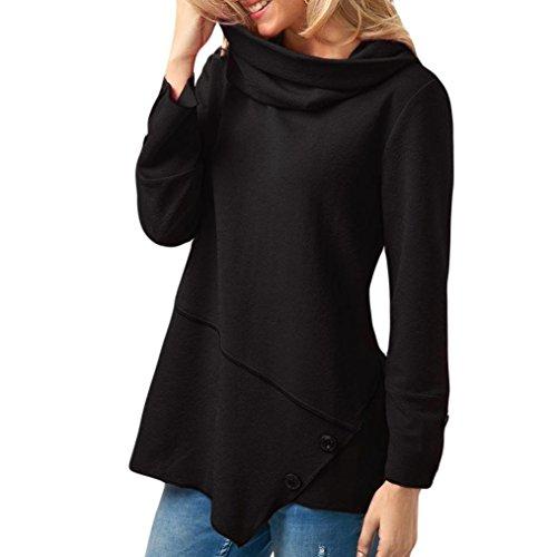 Taille Longues AsymTrique La Plus Cowl Mode FMinine Noir LaChe Top LULIKA Neck Blouse Ourlet Manches ZnUqYIWw