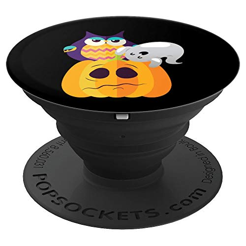 Cute Multicolor Cartoon Halloween Pumpkin Owl & GhosGrip - PopSockets Grip and Stand for Phones and Tablets ()