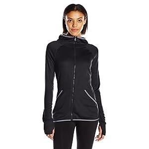 Hanes Women's Sport Performance Fleece Full Zip Hoodie, Black Heather/Dada Grey Binding, L