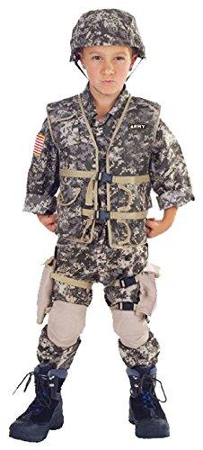Camo Ranger Vest - Underwraps Children's Deluxe Army Ranger Costume - Camouflage, Small (4-6)