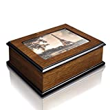 Ikee Design Personalized Wooden Musical Jewelry Box with 4x6 Photo Frame