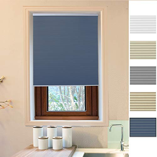 "Allesin Cellular Honeycomb Blinds White Blue Blackout 39"" W x 64"" H Single Cell Pleated Shade Cordless Easy Lift Room Darkening Inside & Outside Mount for Windows"