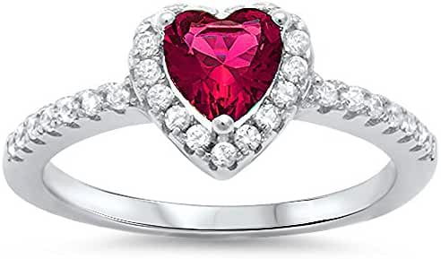 Halo Simulated Ruby & Heart Cubic Zirconia .925 Sterling Silver Ring Sizes 5-9