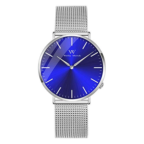 (Welly Merck Sapphire Crystal Mens Watch Swiss Movement 42mm Luxury Minimalist Ultra Thin Analog Wrist Watch with Stainless Steel Mesh Band 5 ATM Water Resistant)