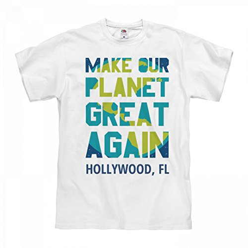 FUNNYSHIRTS.ORG Make Our Planet Great Again Hollywood, FL: Unisex Fruit of The Loom Midweight - Hollywood Planet Gift Shop