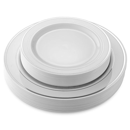 50 Disposable White Silver Rimmed Heavy Duty Plastic Plates | 25 Dinner Plates and 25 Dessert or Appetizer Plates | Premium Combo Disposable Dinnerware Set | Great for Parties or Weddings.